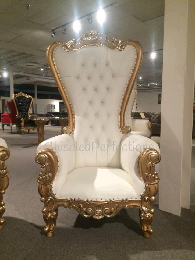 throne chair ivory w gold trim rentals new orleans la where to rent